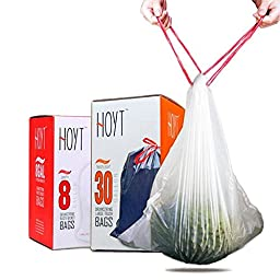 Durable Drawstring Trash Bags with Tissue Box Design, 8 Gallon 60 Count Garbage Bags Fit Trash Can Liners for Home Living Room Kitchen Office