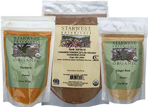 Organic Ceylon Cinnamon Powder, Turmeric Root Powder, and Ginger Root Powder- Variety Pack
