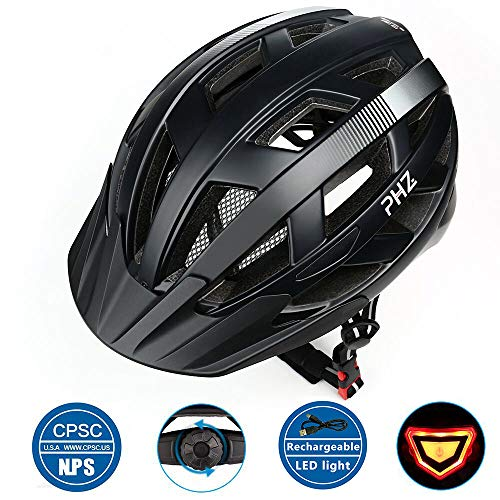 Ride Mountain Bicycle - PHZ Adult Bike CPSC Certified Helmet with Rechargeable Led Back Light/Detachable Visor Ideal for Road Ride Mountain Bike Bicycle for Men and Women