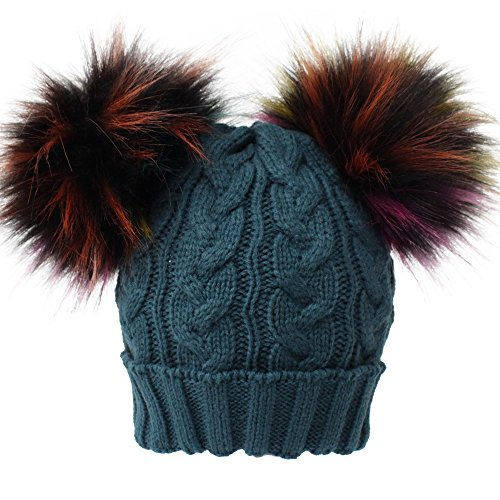 69d87023813 Galleon - JUDY   SAM Kids Winter Hat With Detachable Double Pompoms Faux Fur  For 1-3 Years Children
