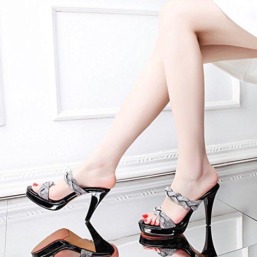 pantofole Elegante Alla tacchi pesce Sandali black caldo 36 a Da trapano con AJUNR Moda 10cm fine Donna alti FXwqYtxwU