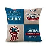 Vibola Vintage American Flag Pillow Cases Cotton Linen 4th...