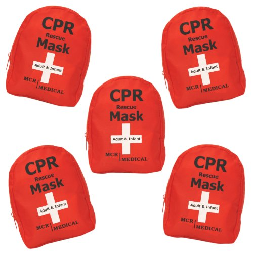 Pack of 5 MCR Medical Adult & Infant CPR Mask Combo Kits (with 2 Valves ()