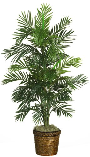 Nearly Natural 5263-03 Areca Palm Decorative Silk Tree with Basket, 4-Feet, Green (Floor Plant Tree)