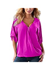 RAYWIND Women Newest V Neck Sexy Blouse Summer Casual Shirt Tops