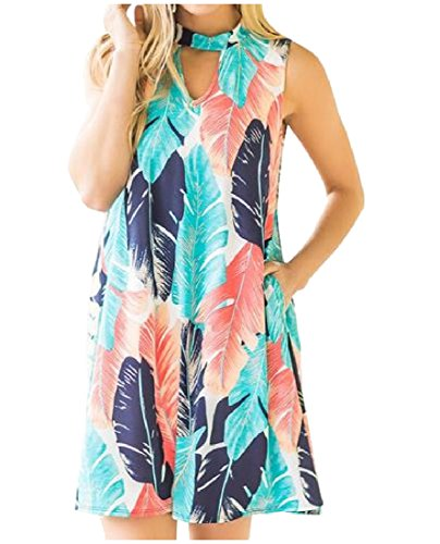 Printed Holiday As Womens Floral Party Picture Dress Coolred Sleeveless Pocket wgI5RORq
