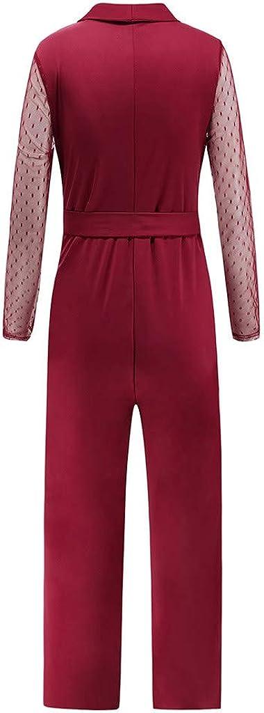 Poundy Womens Casual Loose Elastic Waist Cotton Trouser Cropped Wide Leg High Waist Jumpsuit Pants