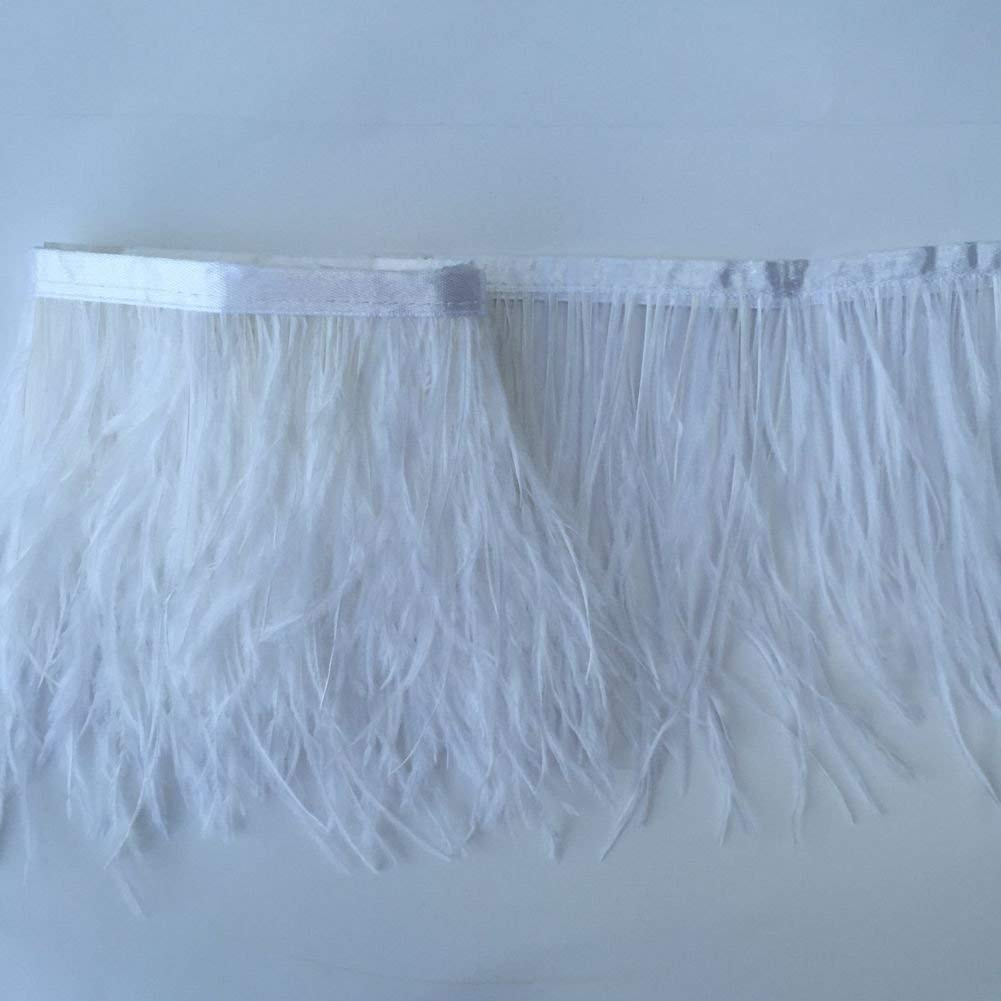 Brown KOLIGHT Pack of 2 Yards Natural Dyed Ostrich Feathers Trim Fringe 4~5inch for DIY Dress Sewing Crafts Costumes Decoration