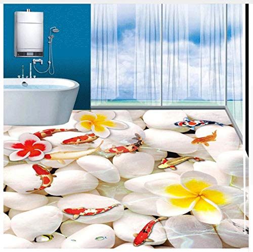 Personalizado cualquier tamaño 3D Pegatinas de piso de adoquín estereoscópico impermeable baño Pvc autoadhesivo piso...