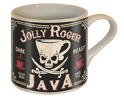 Jolly Roger Java Skull and Swords Coffee Mug - Ceramic Mug by Trixie & Milo - Comes in a fun Gift Box -