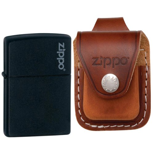 Black Leather Logo Pouch (Zippo 218ZL Classic Black Matte Zippo Logo Windproof Pocket Lighter with Zippo Brown Leather Loop Pouch)