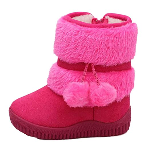 Moccasins Deerskin Baby - Baby Winter Snow Boots, Mchoice Girl Ball Cotton Fashion Winter Baby Child Style Cotton Boot Warm Snow Boots Anti-slip Shoes (12~18 Months, Hot Pink)