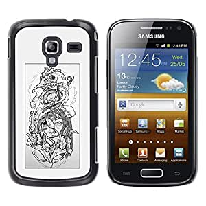 MobileHut / Samsung Galaxy Ace 2 I8160 Ace II X S7560M / Floral Grey Woman Petal Black White / Delgado Negro Plástico caso cubierta Shell Armor Funda Case Cover