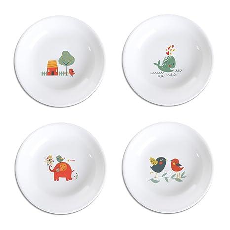 Amazon.com: socosy Cartoon Colorful Animal condimento Platos ...