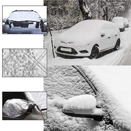 OFNMY Car Windscreen Cover Windshield Ice Cover Dust Frost Sun UV Waterproof for Car SUV in all Weather Heavy Duty Ultra Thick Protective Snow Cover with 2 Wing Mirror Covers