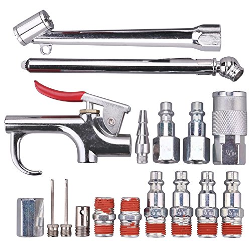 WYNNsky Air Tool and Compressor Accessory Kit, 1/4 inch NPT 17 Piece Air Hose Fittings with Blow Gun, Tire Gauge and Storage Case