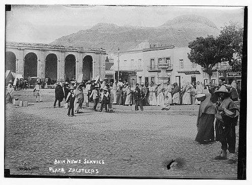 Les Bains Fountain - Infinite Photographs Photo: Plaza,Zacatecas,Mexico,people,sombreros,buildings,fountain?,Bain News Service
