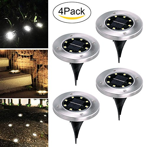 Solar Ground Lights,Garden Pathway Outdoor In-Ground Lights,Landscape Lighting Decor Lawn Light,for Driveway Pathway Walkway In Ground Underground Buried Light,Upgraded With 8 LED (4 pack) (white)
