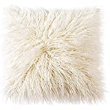 OJIA Deluxe Home Decorative Super Soft Plush Mongolian Faux Fur Throw Pillow Cover Cushion Case (18 x 18 Inch, Light…