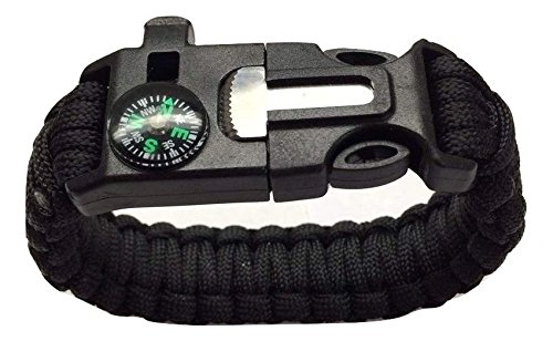 Alpine Guys heavy duty paracord survival bracelet 5 in 1 compass, fire starter, paracord, scraper and whistle