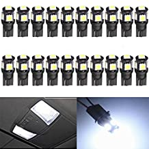 20-Pack 194 White LED Black Body Light 12V,120LM 7000k AMAZENAR?Car Interior and Exterior T10 5SMD 5050 Chips Replacement For W5W 168 2825 Map Dome Courtesy License Plate Dashboard Side Marker Light