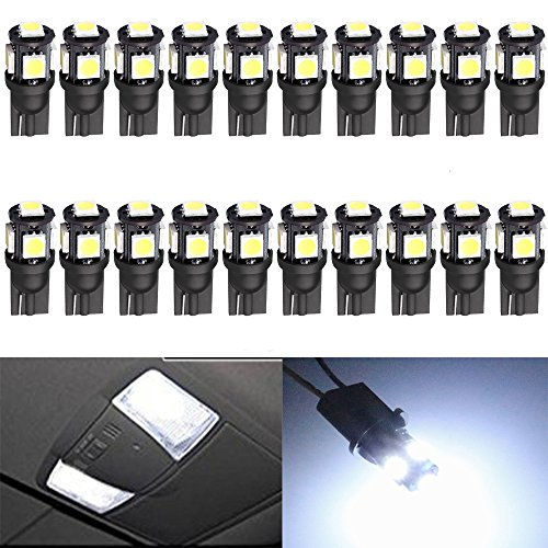 20-pack-194-white-led-black-body-light-12v120lm-7000k-amazenar-car-interior-and-exterior-t10-5smd-50