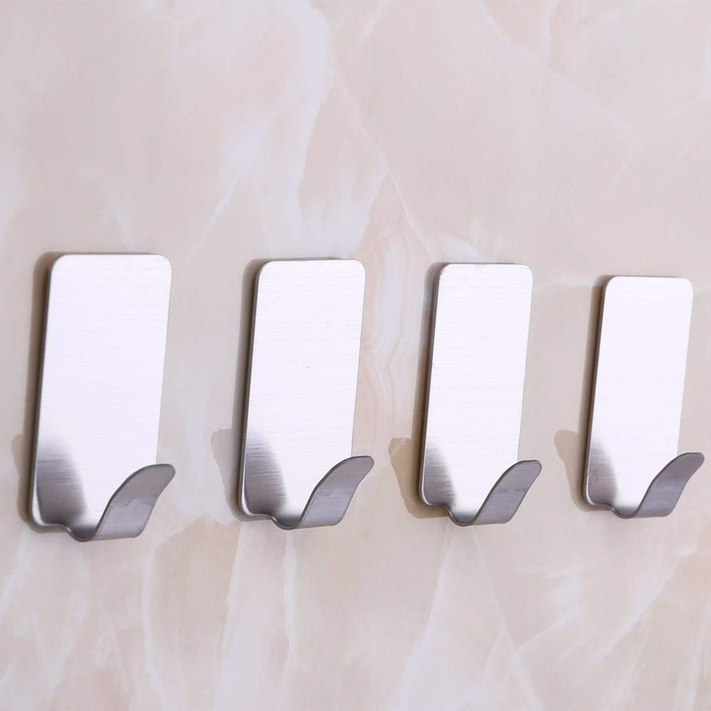 6PCS Self Adhesive Home Kitchen Wall Door Stainless Steel Holder Hook Hanger by Traceless Strong Adhesive Hook (Image #6)