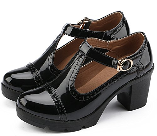 DADAWEN Women's Classic T-Strap Platform Mid-Heel Square Toe Oxfords Dress Shoes Black US Size 7