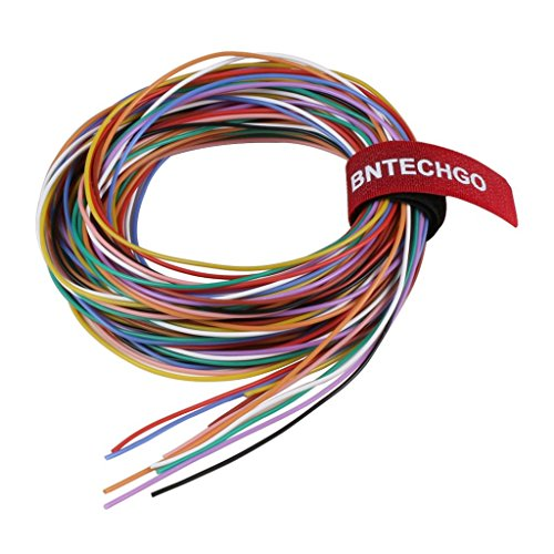 Price comparison product image BNTECHGO 28 Gauge Silicone Wire Kit Ultra Flexible 10 Color High Resistant 200 deg C 600V Silicone Rubber Insulation 28 AWG Silicone Wire 16 Strands of Tinned Copper Wire Stranded Wire Model Cable