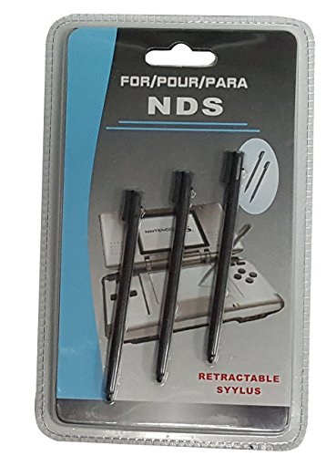 3rd Party Nintendo NDS Retractable 3 Pack Stylus Pen - Black - Nintendo DS;