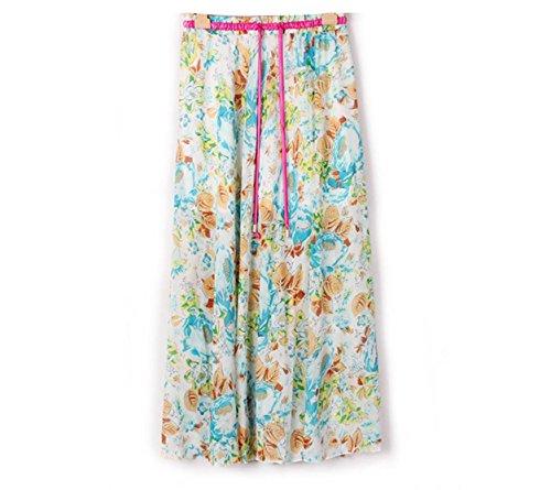Kaxuyiiy Mujer gasa bohemio flor Cintura elástica maxi plisada fiesta playa larga Falda long Skirt Rosa azul