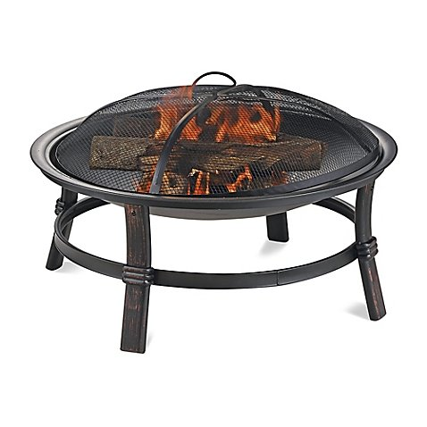UniFlame Endless Summer Wood Burning Outdoor Fire Pit in Brushed Copper