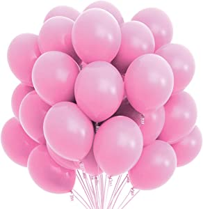 Prextex 75 Pink Party Balloons 12 Inch Pink Balloons with Matching Color Ribbon for Pink Theme Party Decoration, Weddings, Baby Shower, Birthday Parties Supplies or Arch Décor - Helium Quality