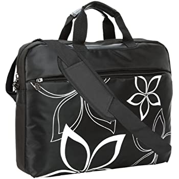 MyGift 17 inch Black Flowers Floral Print Laptop Computer Messenger Bag
