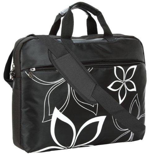 MyGift 17 inch Black Flowers Floral Print Laptop Computer Messenger Bag ()
