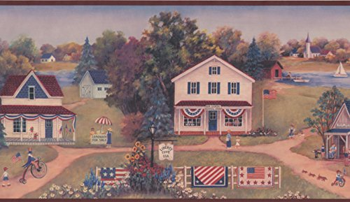 Americana Wall Borders - Vintage American Countryside Wallpaper Border for Kitchen Bathroom Living Room, Roll 15' x 8