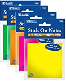 3'' x 3'' Bright Neon Stick On Notes - 80 Count 288 pcs sku# 1818212MA