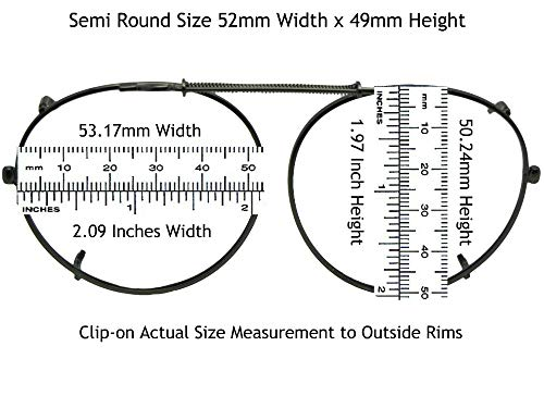 Semi Round Polarized Clip On Sunglasses (Pewter-Polarized Gray Lens, 50mm Wide x 47mm Height)