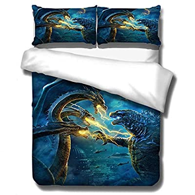 EVDAY 3D Godzilla Dinosaur Duvet Cover Set for Boys Bed Set Super Soft Microfiber Film Theme Design Bedding 3Piece Including 1Duvet Cover,2Pillowcases Full Size: Home & Kitchen