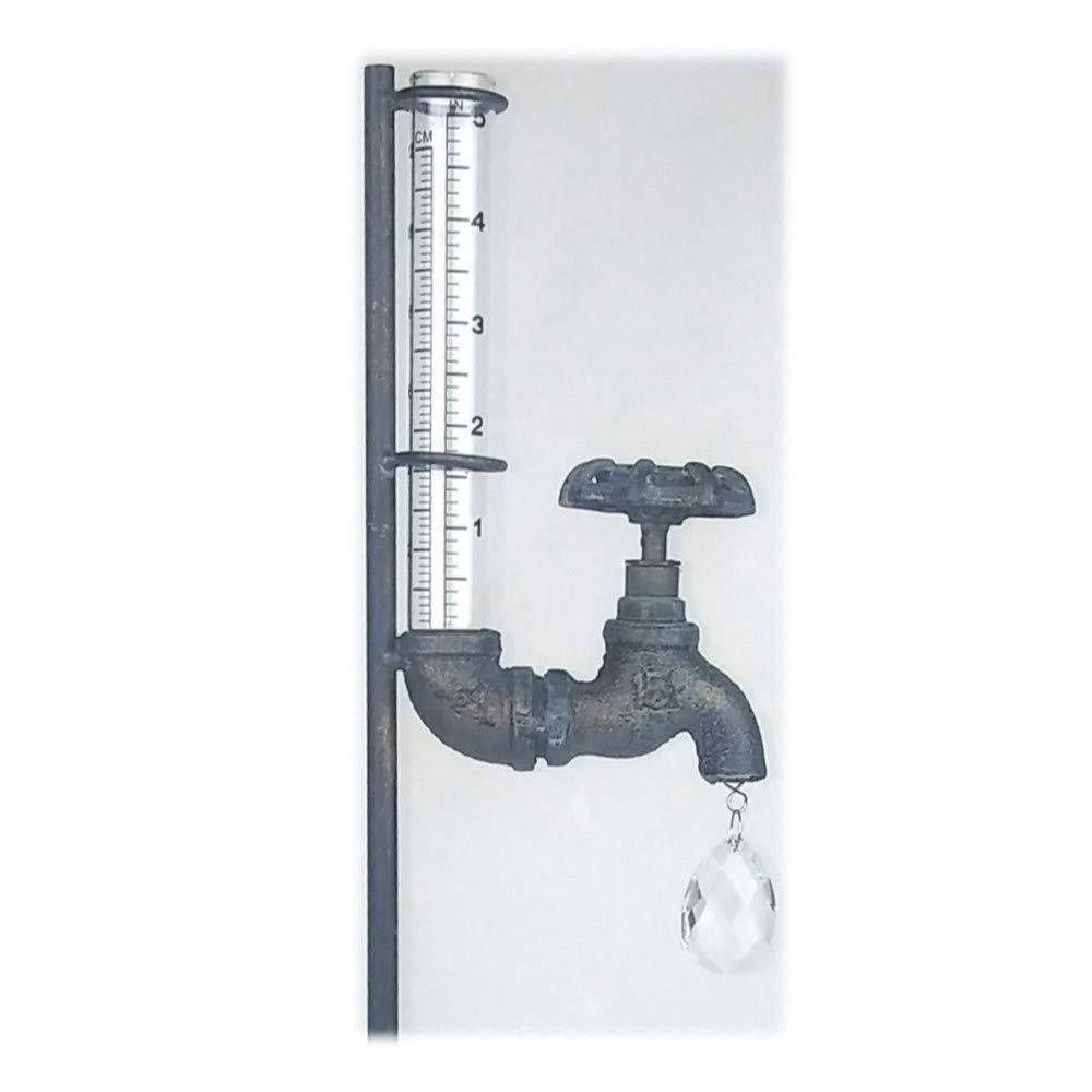 Rain Gauges 5-Inch Capacity Faucet Glass Stake