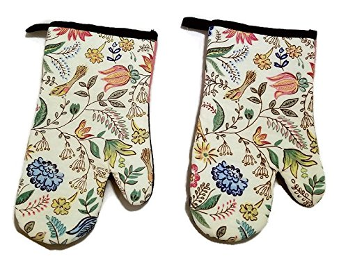 Wild Flowers Design Kitchen Silicone Backed 2 Pack Oven (Flower Oven Mitt)