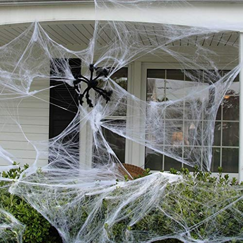 Funpa 12 Pack Halloween Spider Web Stretch Realistic