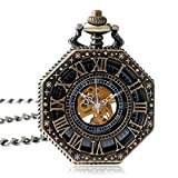 YISUYA Pocket Watch with Chain Antique Roman Numeral Gold Tone Octagon Case Steampunk Mechanical Movement