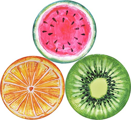 Decorative Fruit Plate - ZEALAX Tutti Frutti Disposable Party Plates 12ct - 9-inch Paper Plates Decorative Tableware Appetizer Dessert Plates for Summer Fruit Theme Parties (Watermelon, Orange, Kiwifruit)