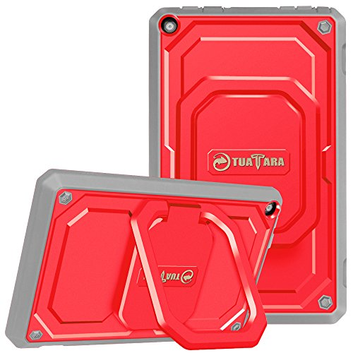 (Fintie Shockproof Case for All-New Amazon Fire HD 8 (7th and 8th Generation Tablets, 2017 and 2018 Releases) - [Tuatara Magic Ring] [360 Rotating] Multi-Functional Grip Stand Carry Cover, Red)