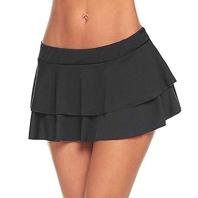 Meiliwanju - Mini Falda Plisada para Mujer - Negro - XX-Large ...
