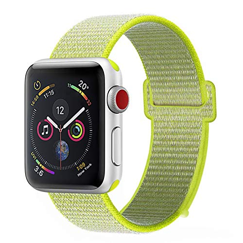 LINKWOW Compatible with Apple Watch Band Fluorescent Green 42mm 44mm, Sports Casual Breathable Lightweight Nylon Woven Watch Band with Metal Buckle Compatible with Apple Watch Band Series 4/3/2/1 ()