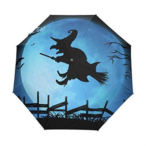 (Happy Halloween Witch Blues Moon Custom Foldable Custom Umbrella Rain and Sun Beach Custom Umbrellas Hat)