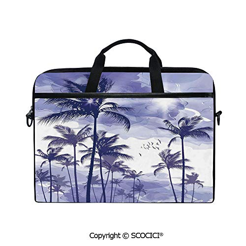 Personalized Laptop Bag 14-15 Inch Messenger Bag Exotic Tropical Tall Palm Trees at Beverly Hills Sunset on Windy Day Abstract Artsy Print Decorative Shoulder Sleeve Case Tablet Briefcase