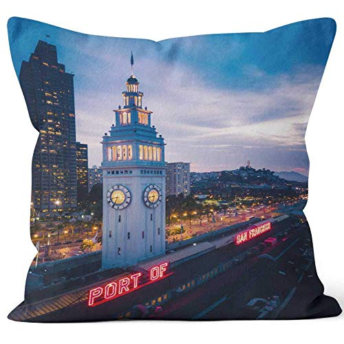 Aerial View of San Francisco at Night Home Decorative Throw Pillow Cover Square Pillow case 18x18 Inches